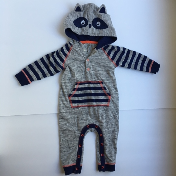 Cat & Jack Other - Raccoon Raglan Henley Romper Footless Onesie Hood